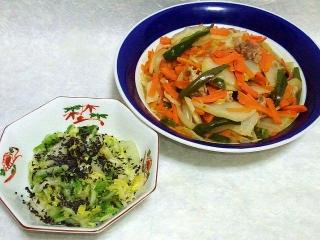 160719_4059白菜の浅漬け刻み塩昆布和え・白菜の野菜炒めVGA