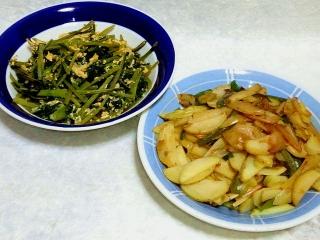160729_4086ほうれん草のバター醤油甘辛炒め・ジャガイモとピーマンのピリ辛炒めVGA