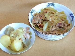 161111_4296 鶏肉と野菜のおでん風煮物・豚肉の生姜焼きVGA