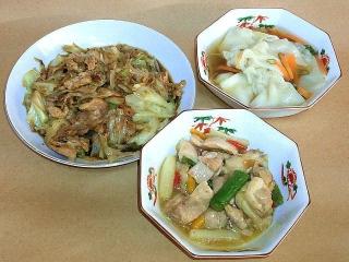 161125_4328 キャベツと豚肉のコチュジャン炒め・ワンタンスープ・鶏肉とアスパラガスの塩麹炒めVGA