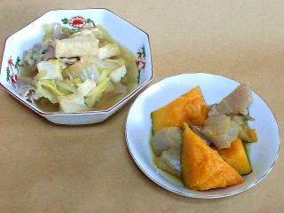 161129_4337 白菜と厚揚げの煮物・かぼちゃと千切りコンニャクの煮物VGA