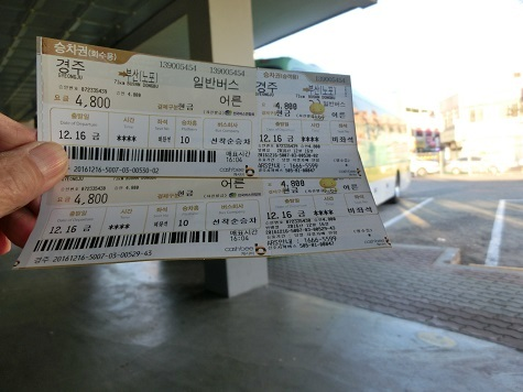 12 釜山行きのバスチケット