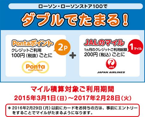 ローソンでの利用、100円ことに2P(2円相当)+ JALのマイルが200円1マイ