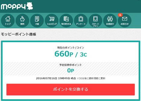 モッピーが好調!1ポイント1円相当で660ポイント、スマホやPCのゲーム参加だけです。