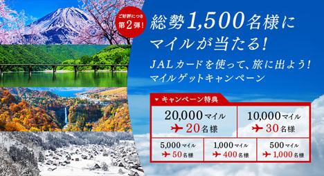 JALは、JALカード会員限定で1,500名にマイルが当たるキャンペーンを開催、最大20,000マイルが当たります!