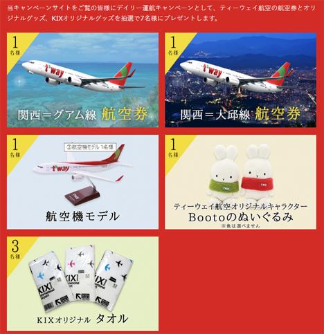 関西国際空港は、ティーウェイ航空とのコラボキャンペーンでグアム無料航空券などが当たるキャンペーンを開催!2のコピー