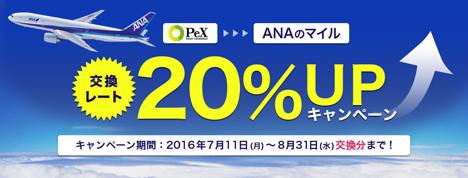 ANAは、PeXポイントからマイルへの交換が20%UPする、ポイント交換1