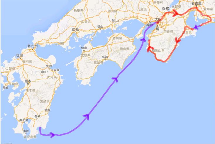 2016042728 鹿児島志布志から大阪