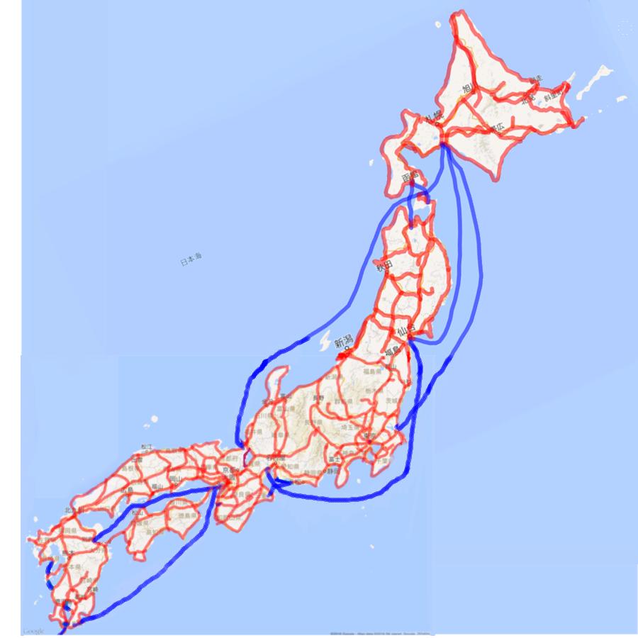 2016 2015年の移動地図:日本陸路