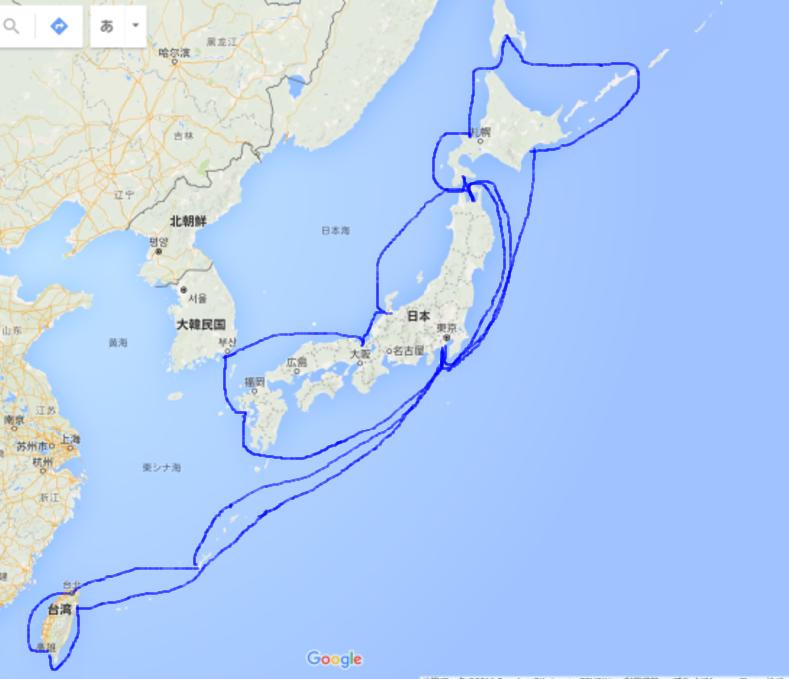 2016 2015年の移動地図:日本外洋航路