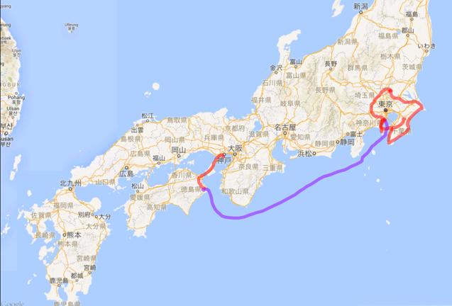 201605 徳島フェリー東京 陸路関東
