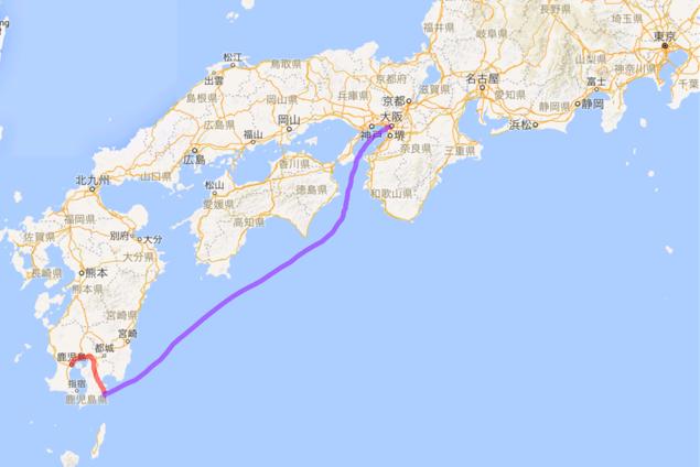 201604 鹿児島からフェリー 志布志 大阪へ