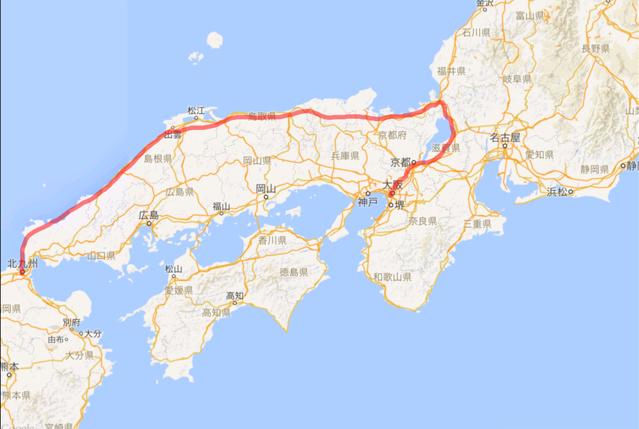 201604 大阪から陸路 大阪から日本海側北九州へ