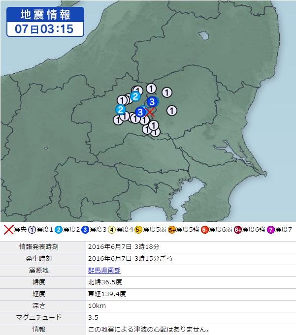 6月8日地震情報群馬