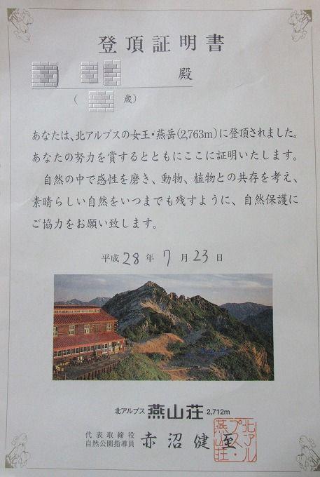 孫登頂証明書 28.7.23