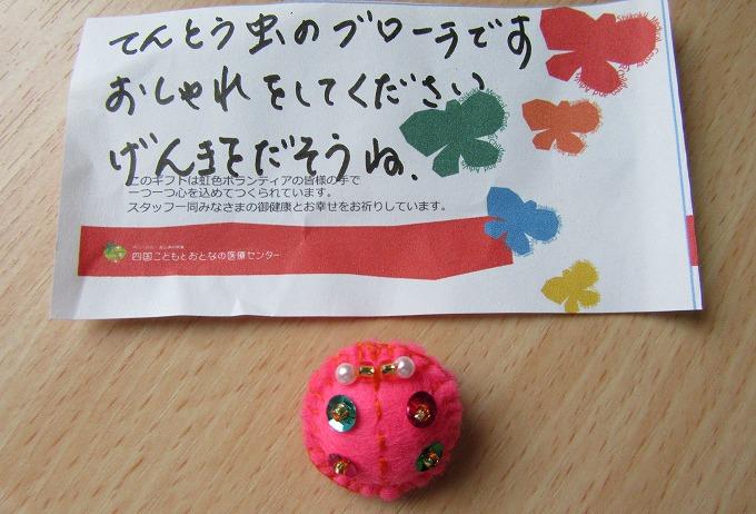 桃色天道虫バッジ 28.9.8