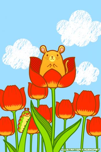 チューリップねずみ芋虫イラスト