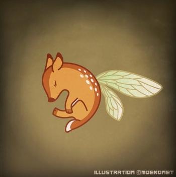 子鹿イラスト蝉の羽