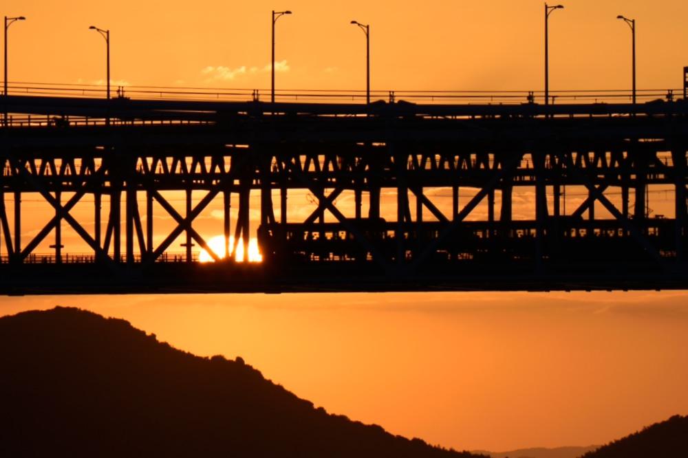 夕日と列車DSC_1097
