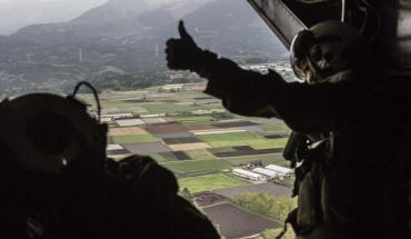 18日午後5時27分 在日米海兵隊 普天間飛行場所属 V‐22オスプレイ 岩国基地 陸上自衛隊 高遊原分屯地(熊本空港内)支援物資 (南阿蘇村 白水運動公園)