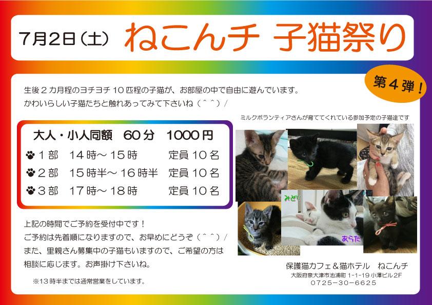 7月2日日 子猫祭り チラシ
