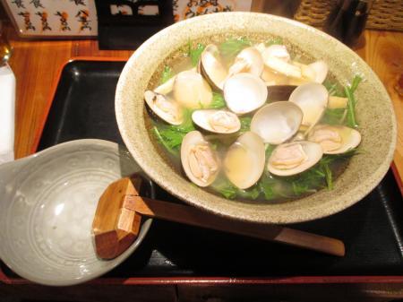 ハマグリと水菜のうどん