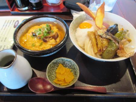 秋茄子と万願寺の揚げ浸し山かけUDONと吉野葛の和風きのこあんかけ丼セット