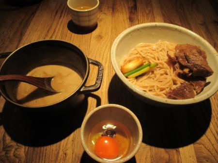 生卵和牛つけ麺2玉