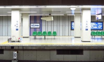京成上野駅ホームと0キロポスト