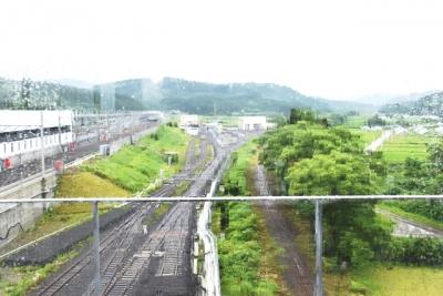 奥津軽いまべつ駅診新森方面の眺望