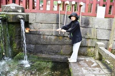 岩木山手水舎で記念ショット