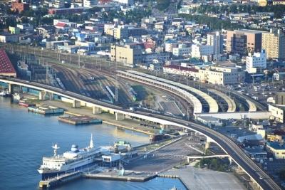 函館山から望むJR函館駅