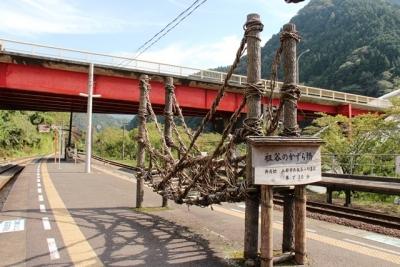 大歩危駅ホームの祖谷のかずら橋