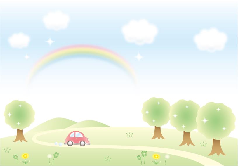 木と野原と車