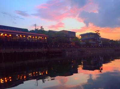 夕焼け宇治川