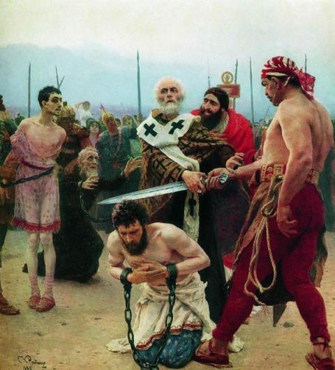 イリヤ・レーピン「ミラの聖ニコライ、無実の三人を死刑から救う」
