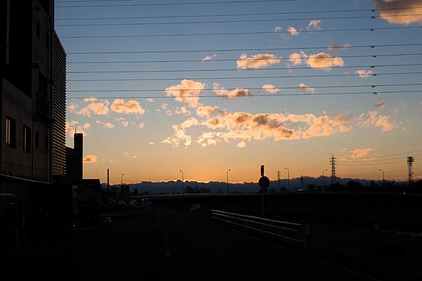 矢田川堤防の夕焼け