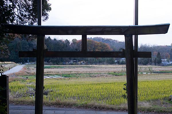 八幡神社鳥居越しに眺める鳥原町集落の風景