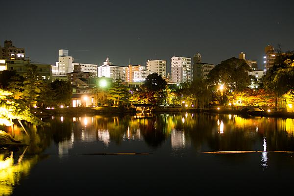 徳川園庭園とマンションの風景