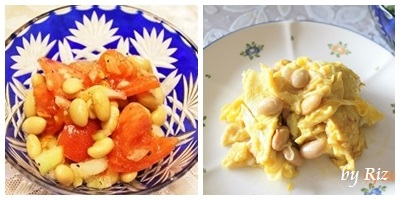 スーパー発芽大豆のサラダとスクランブルエッグ