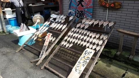 三崎港で有名らしい、まるいちの前に干物が天日干しされてました。