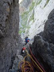 1P目登攀中