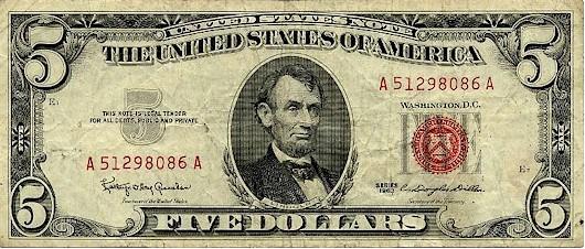 JFケネディ政権下で発行された政府紙幣 $5札(1963年)