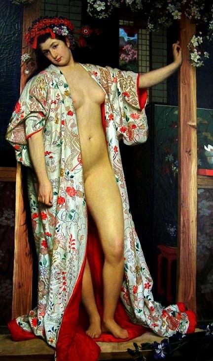 ジェームズ・ティソ『浴室のラ・ジャポネーズ』 1864年