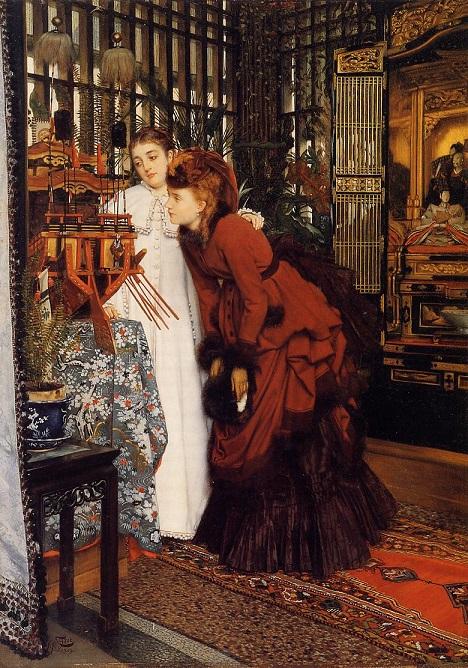 ジェームズ・ティソ『日本の品々を眺める娘たち』 1869年