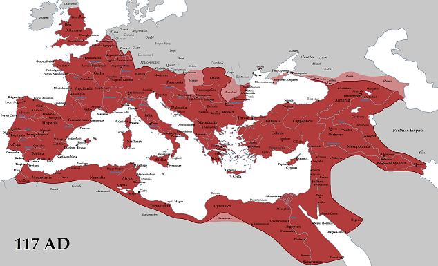 西暦117年当時のローマ帝国の最大版図