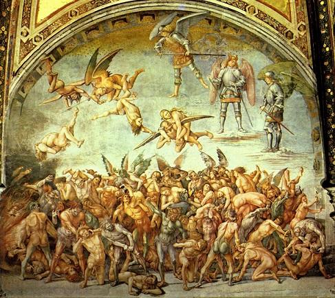 ルカ・シニョレッリ 罪されし者を地獄へ追いやる天使(地獄)、蘇る死者』1500-04頃