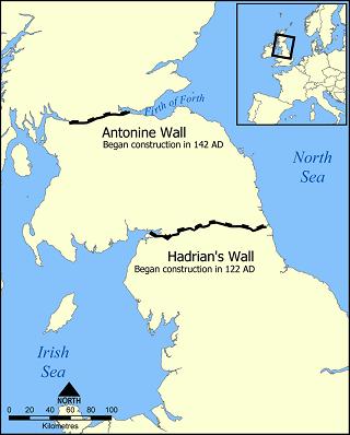 アントニヌスの長城とハドリアヌスの長城の位置
