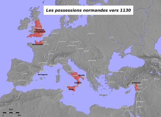 12世紀にノルマン人が征服した地を赤で示す
