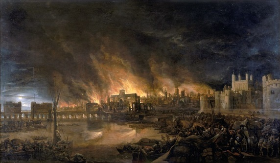 炎に包まれたロンドン ロンドン橋(左)、ロンドン塔(右) 遠くに見えるのがセント・ポール大聖堂